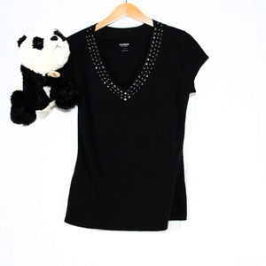 Express Tops - Black Express studded fitted top